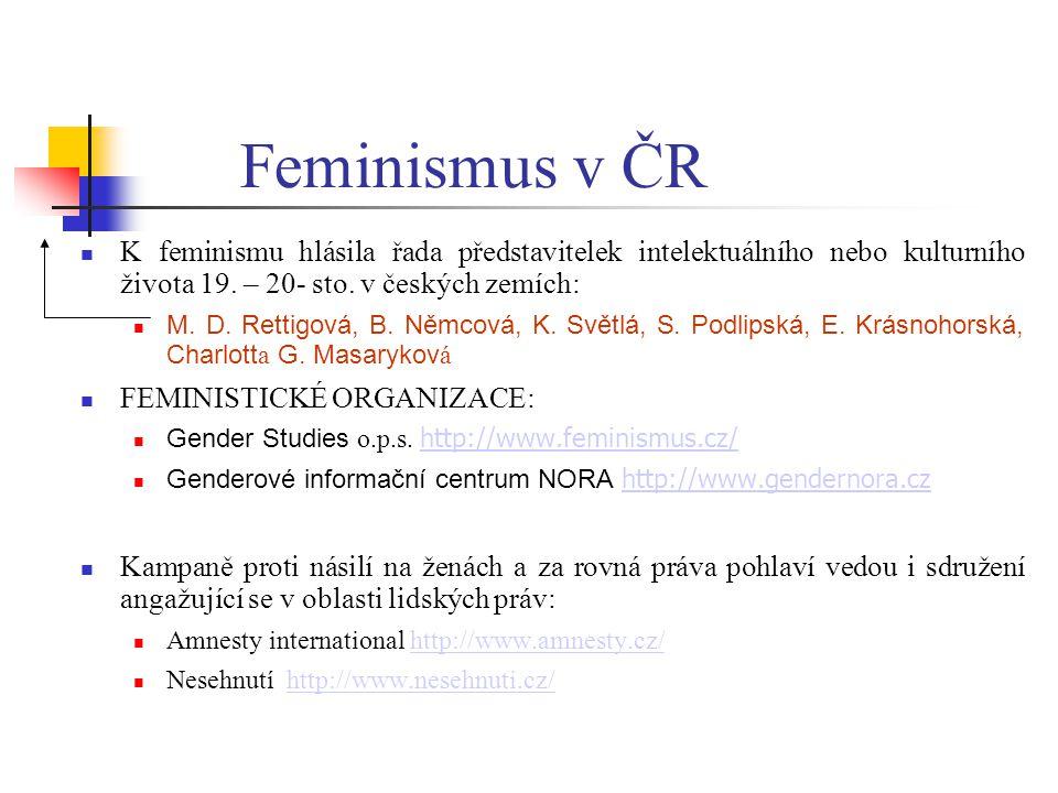Feminismus v ČR K feminismu hlásila řada představitelek intelektuálního nebo kulturního života 19. – 20- sto. v českých zemích: M. D. Rettigová, B. Ně