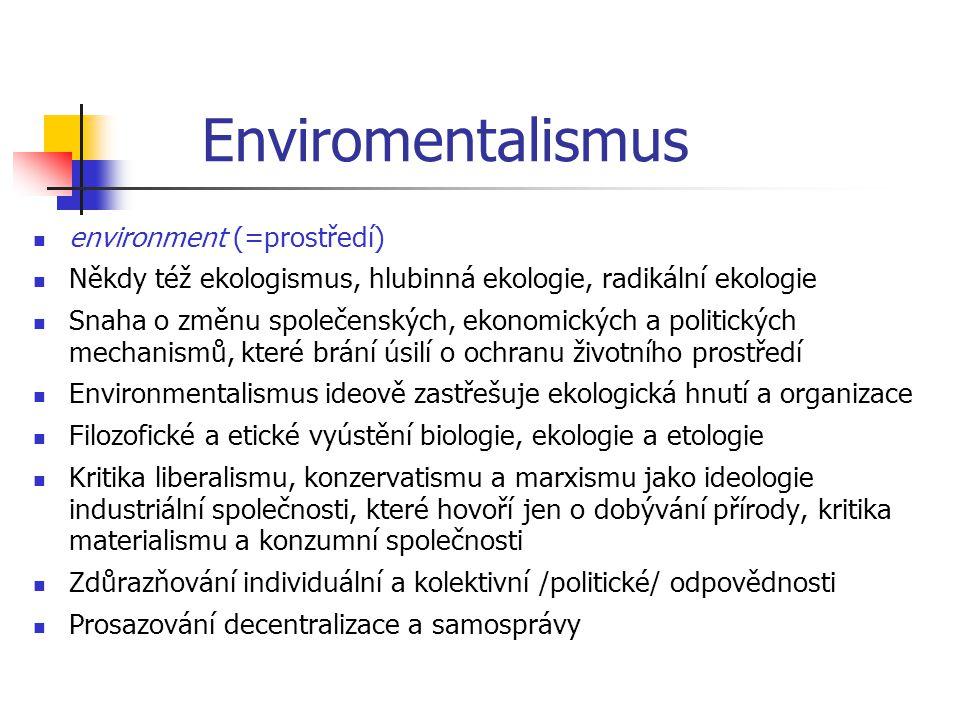 Enviromentalismus environment (=prostředí) Někdy též ekologismus, hlubinná ekologie, radikální ekologie Snaha o změnu společenských, ekonomických a po