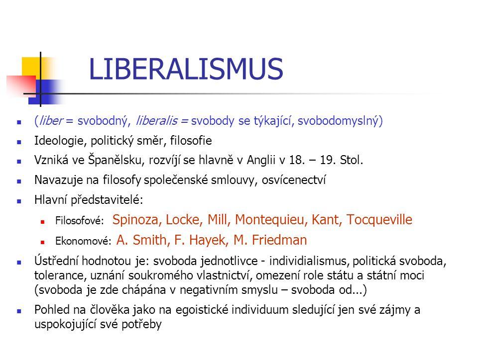 LIBERALISMUS (liber = svobodný, liberalis = svobody se týkající, svobodomyslný) Ideologie, politický směr, filosofie Vzniká ve Španělsku, rozvíjí se h