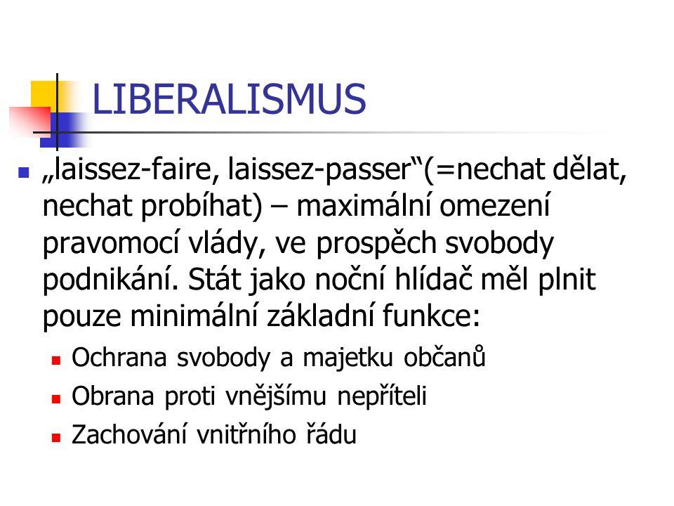 """LIBERALISMUS """"laissez-faire, laissez-passer""""(=nechat dělat, nechat probíhat) – maximální omezení pravomocí vlády, ve prospěch svobody podnikání. Stát"""
