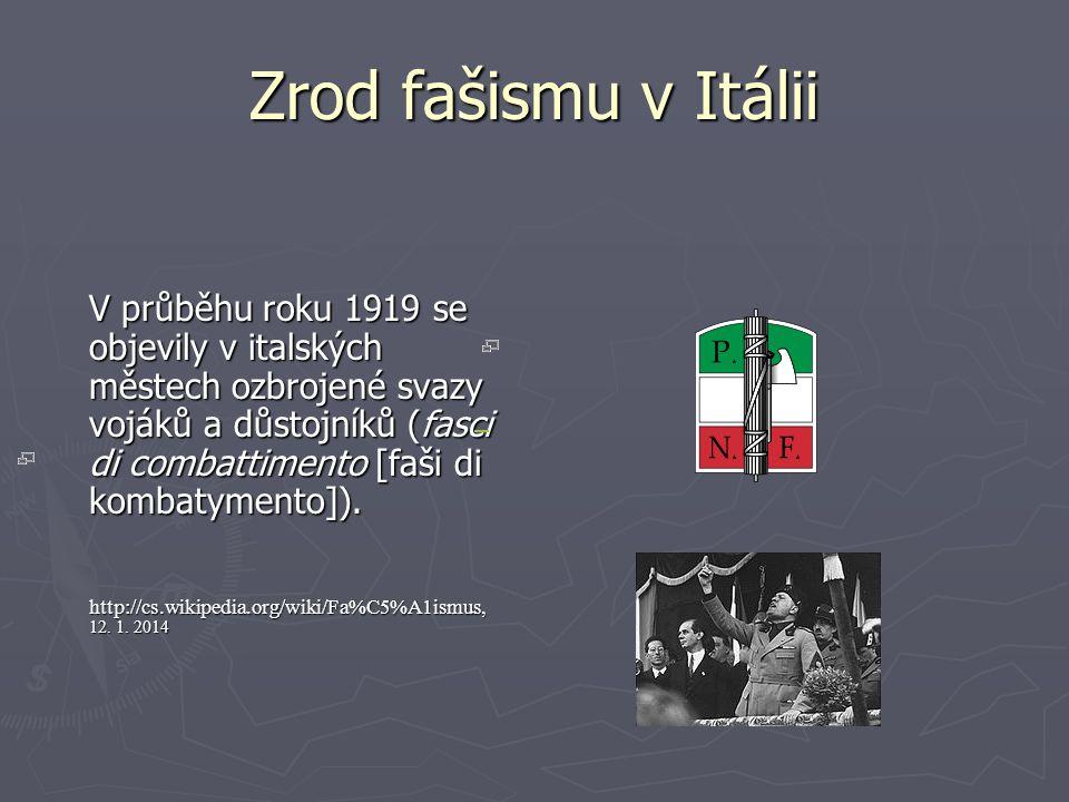 Zrod fašismu v Itálii V průběhu roku 1919 se objevily v italských městech ozbrojené svazy vojáků a důstojníků (fasci di combattimento [faši di kombaty
