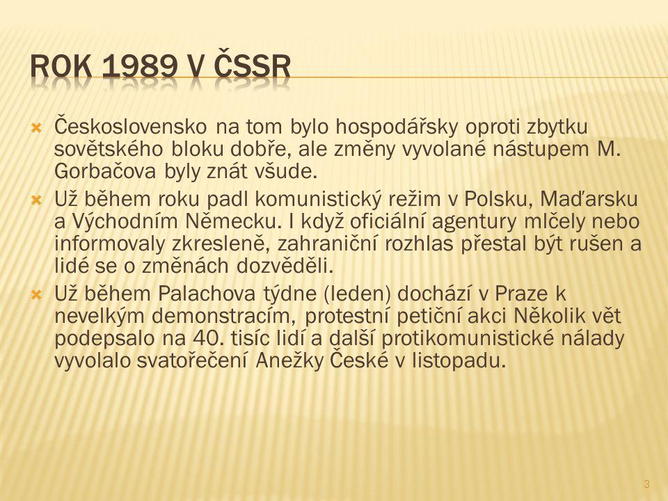 Československo na tom bylo hospodářsky oproti zbytku sovětského bloku dobře, ale změny vyvolané nástupem M.