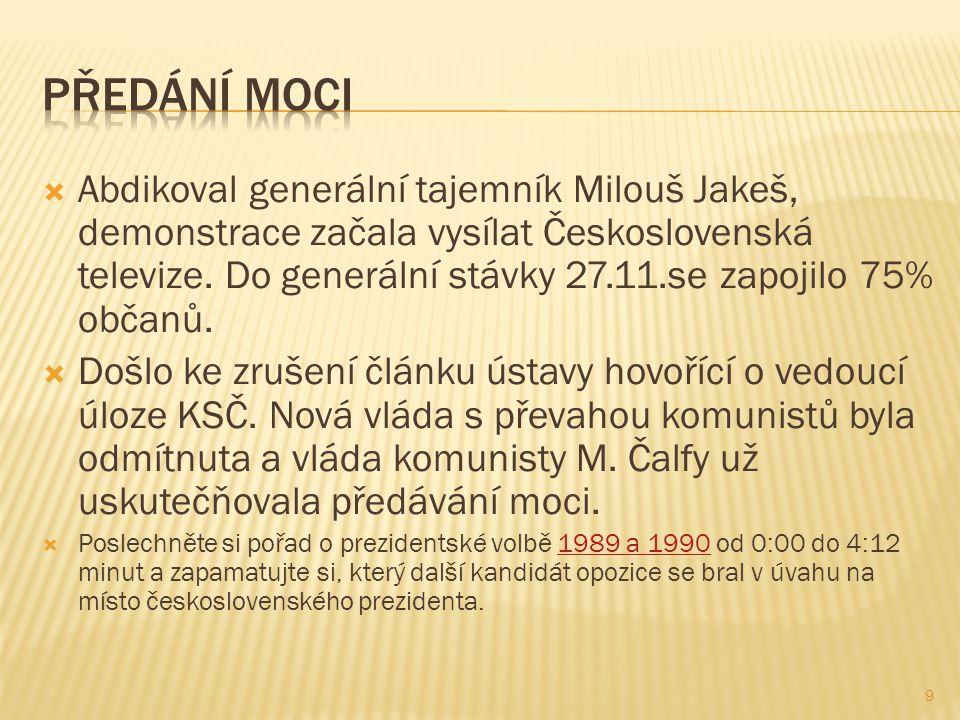  Abdikoval generální tajemník Milouš Jakeš, demonstrace začala vysílat Československá televize.