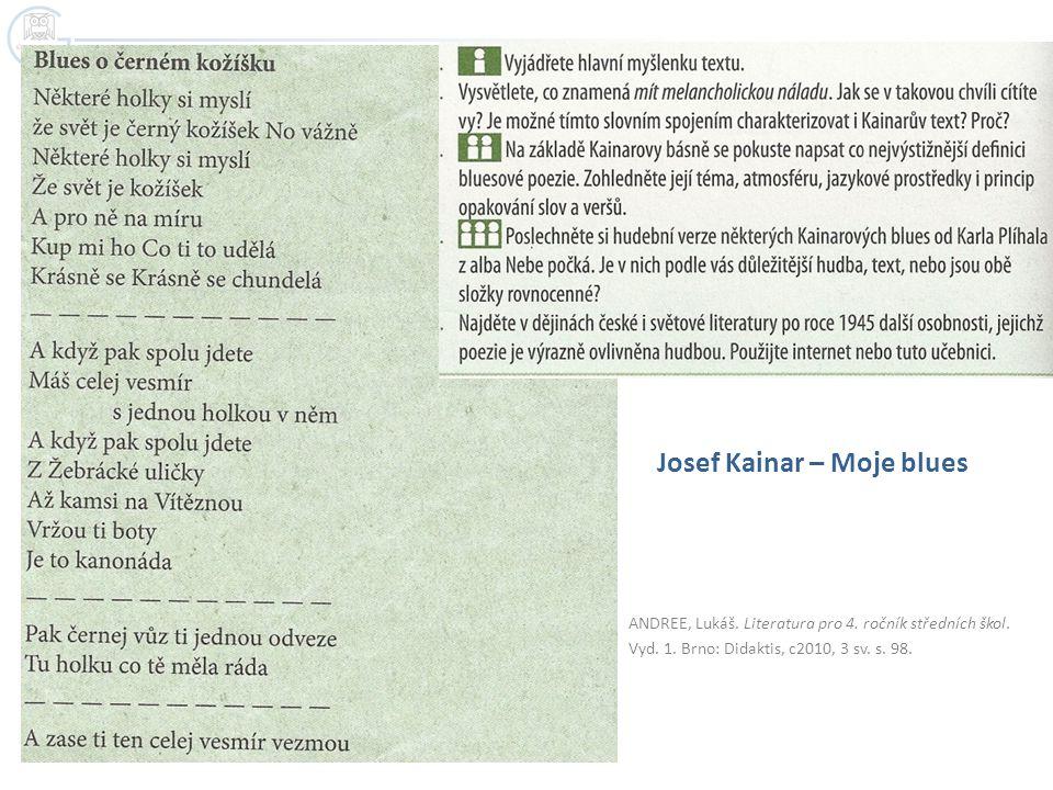 ANDREE, Lukáš. Literatura pro 4. ročník středních škol. Vyd. 1. Brno: Didaktis, c2010, 3 sv. s. 98. Josef Kainar – Moje blues