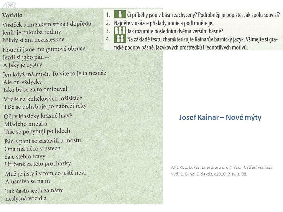 ANDREE, Lukáš. Literatura pro 4. ročník středních škol. Vyd. 1. Brno: Didaktis, c2010, 3 sv. s. 98. Josef Kainar – Nové mýty