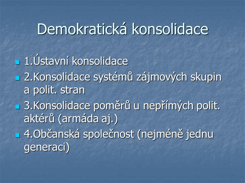 Demokratická konsolidace 1.Ústavní konsolidace 1.Ústavní konsolidace 2.Konsolidace systémů zájmových skupin a polit. stran 2.Konsolidace systémů zájmo