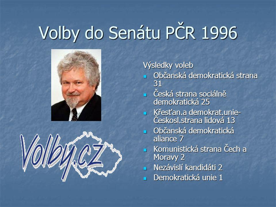 Volby do Senátu PČR 1996 Výsledky voleb Občanská demokratická strana 31 Občanská demokratická strana 31 Česká strana sociálně demokratická 25 Česká st