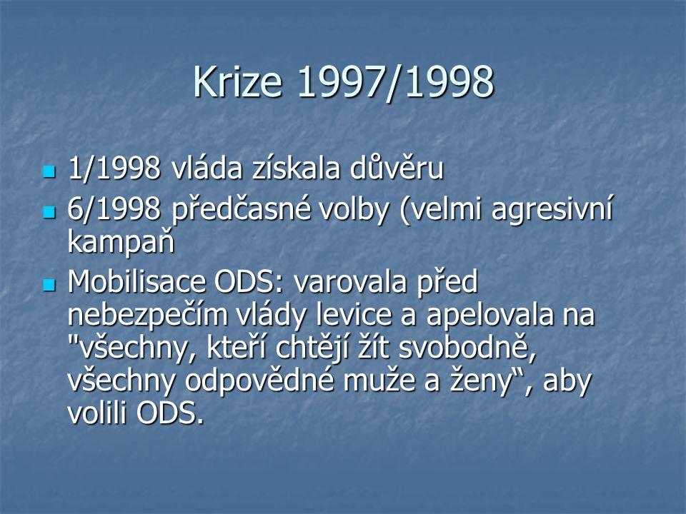 Krize 1997/1998 1/1998 vláda získala důvěru 1/1998 vláda získala důvěru 6/1998 předčasné volby (velmi agresivní kampaň 6/1998 předčasné volby (velmi a