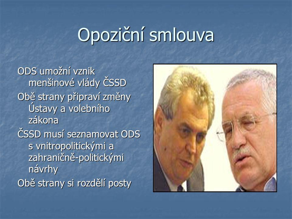 Opoziční smlouva ODS umožní vznik menšinové vlády ČSSD Obě strany připraví změny Ústavy a volebního zákona ČSSD musí seznamovat ODS s vnitropolitickým