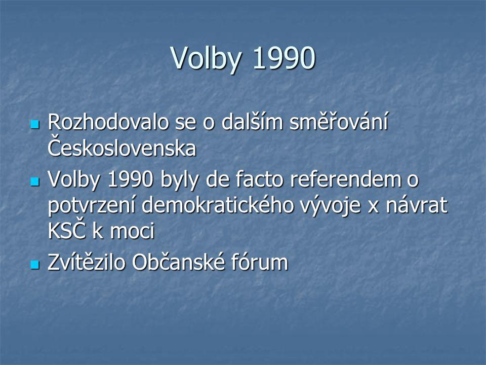 Volby 1990 Rozhodovalo se o dalším směřování Československa Rozhodovalo se o dalším směřování Československa Volby 1990 byly de facto referendem o pot