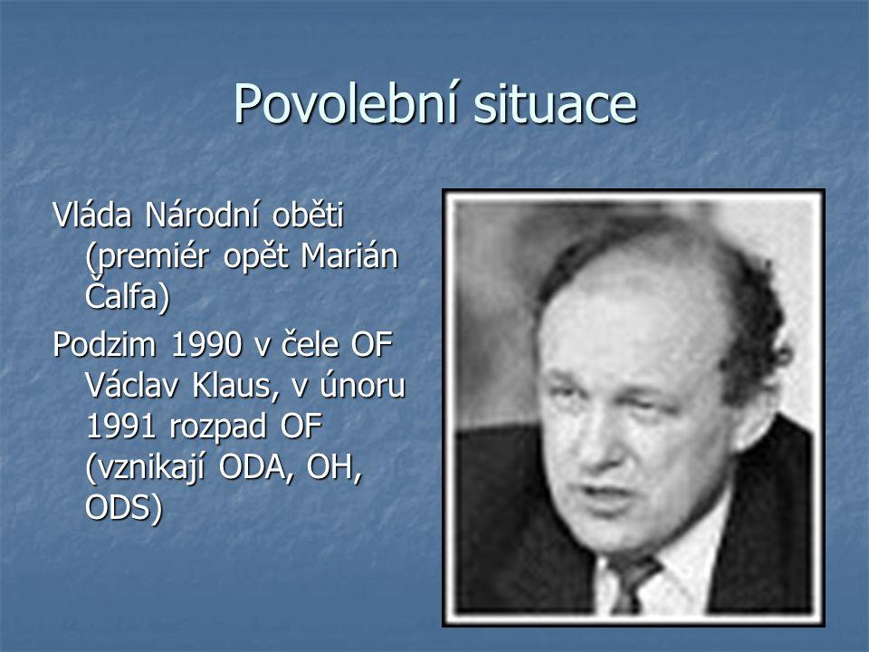 Povolební situace Vláda Národní oběti (premiér opět Marián Čalfa) Podzim 1990 v čele OF Václav Klaus, v únoru 1991 rozpad OF (vznikají ODA, OH, ODS)