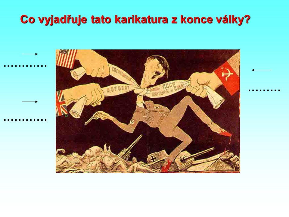 Co vyjadřuje tato karikatura z konce války? ………… ………