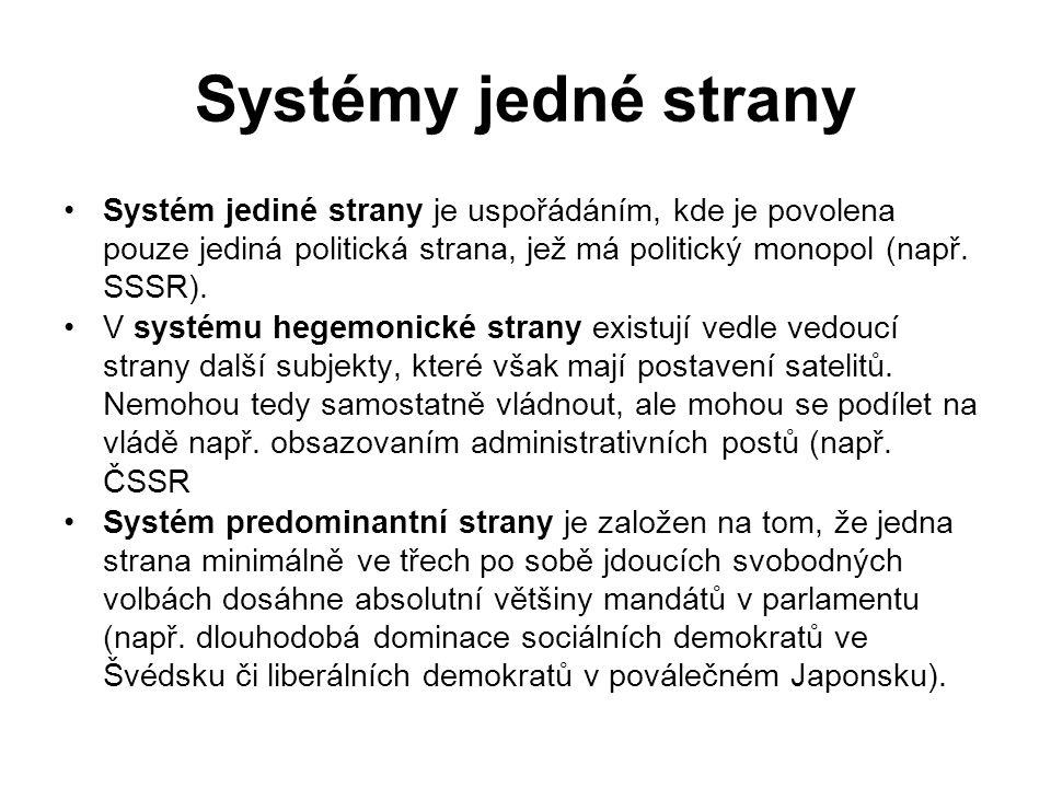 Systémy jedné strany Systém jediné strany je uspořádáním, kde je povolena pouze jediná politická strana, jež má politický monopol (např.