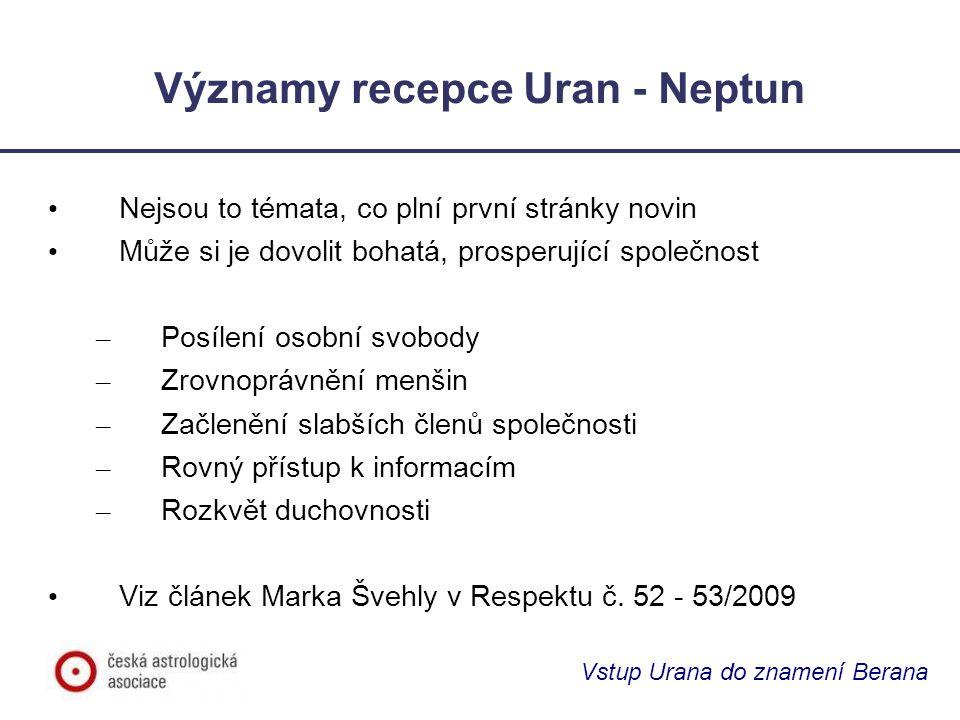 Významy recepce Uran - Neptun Nejsou to témata, co plní první stránky novin Může si je dovolit bohatá, prosperující společnost – Posílení osobní svobo