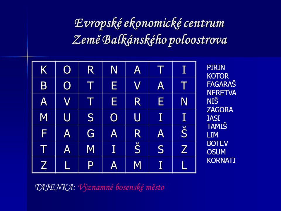 Evropské ekonomické centrum Země Balkánského poloostrova KORNATI BOTEVAT AVTEREN MUSOUII FAGARAŠ TAMIŠSZ ZLPAMIL PIRIN KOTOR FAGARAŠ NERETVA NIŠ ZAGOR