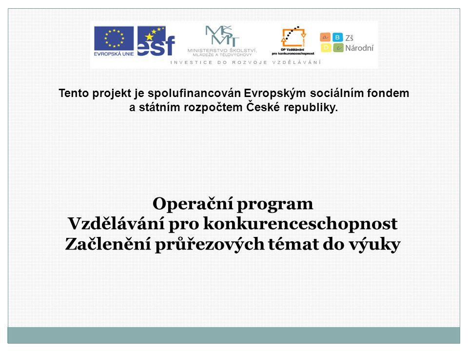Operační program Vzdělávání pro konkurenceschopnost Začlenění průřezových témat do výuky Tento projekt je spolufinancován Evropským sociálním fondem a státním rozpočtem České republiky.