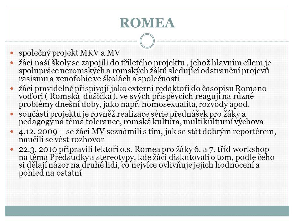ROMEA společný projekt MKV a MV žáci naší školy se zapojili do tříletého projektu, jehož hlavním cílem je spolupráce neromských a romských žáků sledující odstranění projevů rasismu a xenofobie ve školách a společnosti žáci pravidelně přispívají jako externí redaktoři do časopisu Romano voďori ( Romská dušička ), ve svých příspěvcích reagují na různé problémy dnešní doby, jako např.