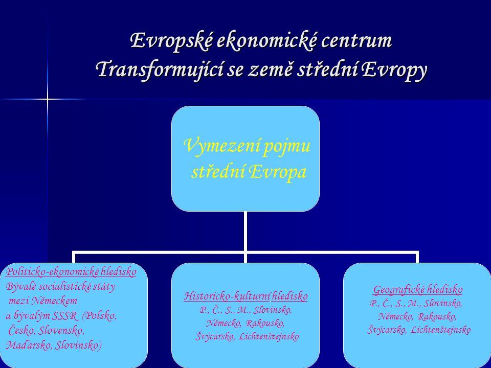 Evropské ekonomické centrum Transformující se země střední Evropy Vymezení pojmu střední Evropa Politicko-ekonomické hledisko Bývalé socialistické stá