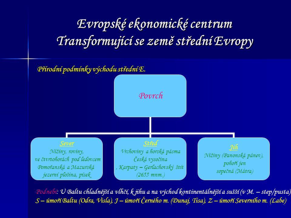 Evropské ekonomické centrum Transformující se země střední Evropy Přírodní podmínky východu střední E. Povrch Sever Nížiny, roviny, ve čtvrtohorách po