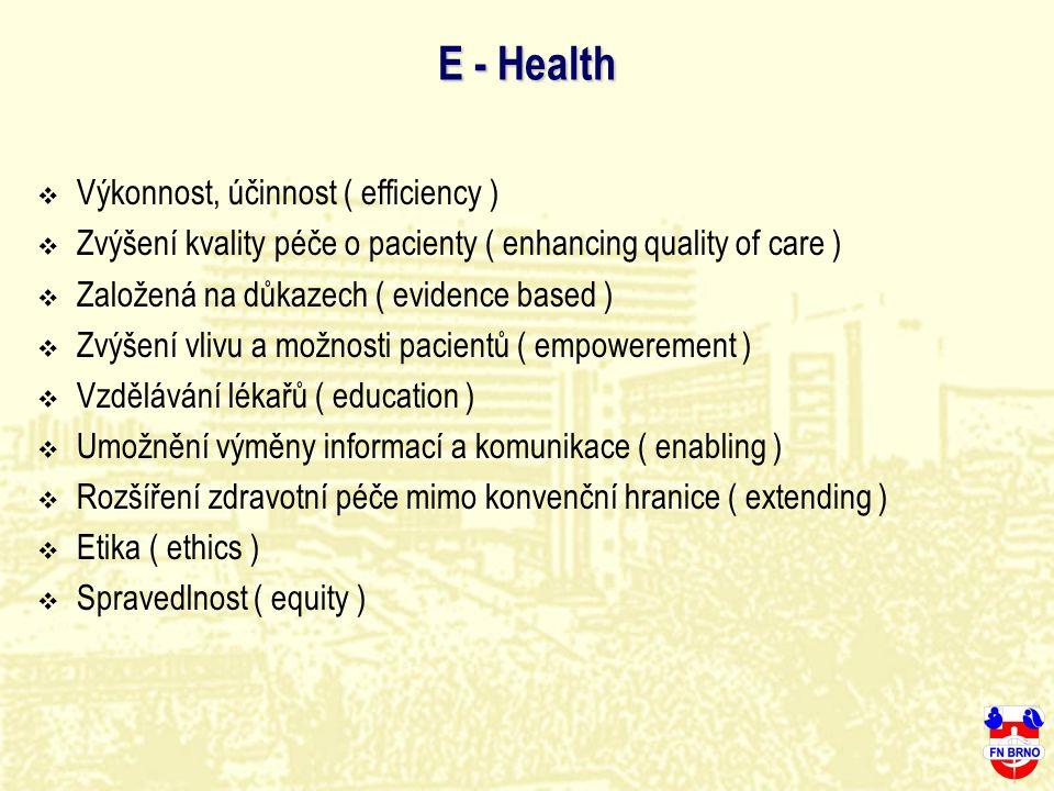 E - Health  Výkonnost, účinnost ( efficiency )  Zvýšení kvality péče o pacienty ( enhancing quality of care )  Založená na důkazech ( evidence base