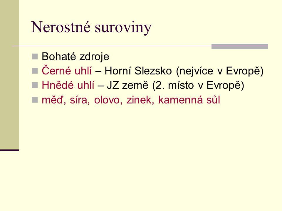 Nerostné suroviny Bohaté zdroje Černé uhlí – Horní Slezsko (nejvíce v Evropě) Hnědé uhlí – JZ země (2.