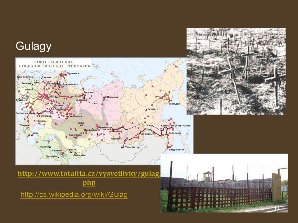 Gulagy 11 http://cs.wikipedia.org/wiki/Gulag http://www.totalita.cz/vysvetlivky/gulag. php