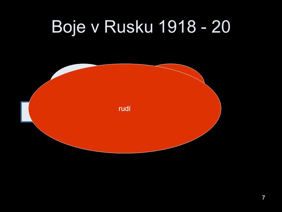 Boje v Rusku 1918 - 20 bílírudí pomáhají evropské státy rudí 7
