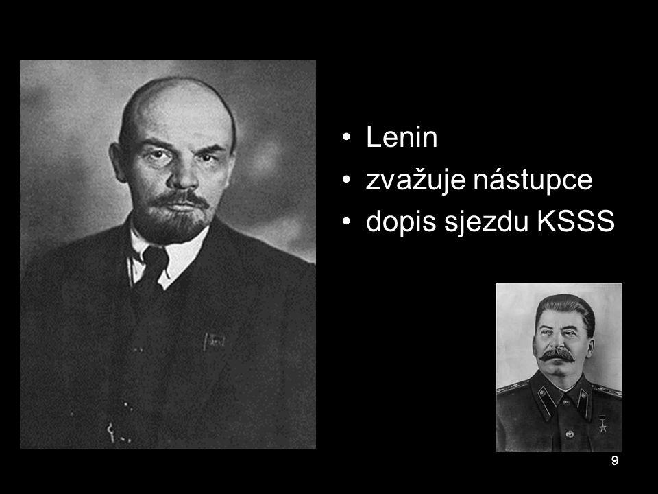 Lenin zvažuje nástupce dopis sjezdu KSSS 9