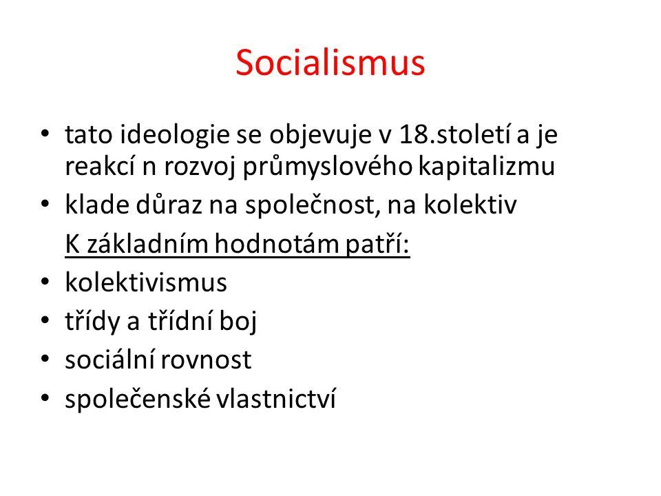 Socialismus tato ideologie se objevuje v 18.století a je reakcí n rozvoj průmyslového kapitalizmu klade důraz na společnost, na kolektiv K základním h