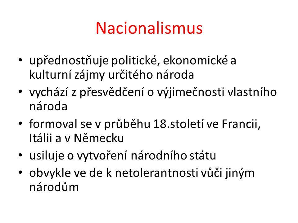 Nacionalismus upřednostňuje politické, ekonomické a kulturní zájmy určitého národa vychází z přesvědčení o výjimečnosti vlastního národa formoval se v