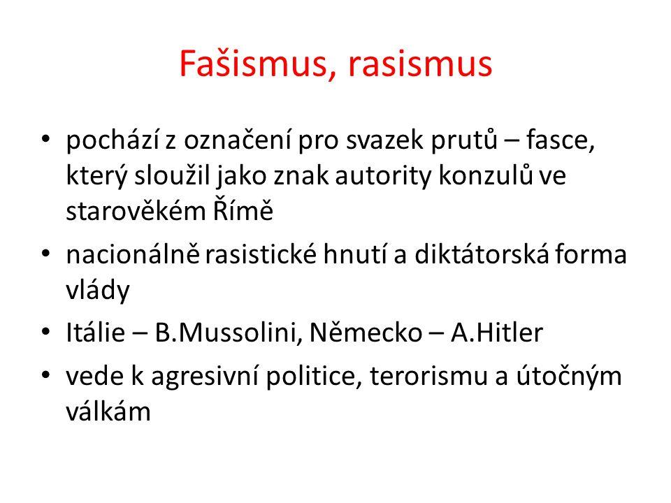Fašismus, rasismus pochází z označení pro svazek prutů – fasce, který sloužil jako znak autority konzulů ve starověkém Římě nacionálně rasistické hnut