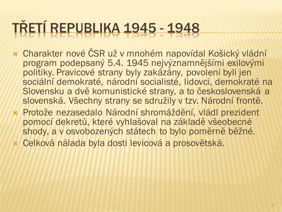  Charakter nové ČSR už v mnohém napovídal Košický vládní program podepsaný 5.4.
