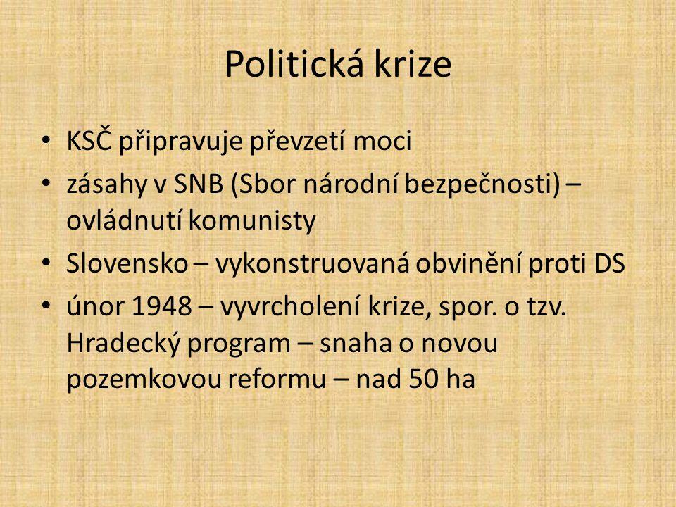 Politická krize KSČ připravuje převzetí moci zásahy v SNB (Sbor národní bezpečnosti) – ovládnutí komunisty Slovensko – vykonstruovaná obvinění proti DS únor 1948 – vyvrcholení krize, spor.