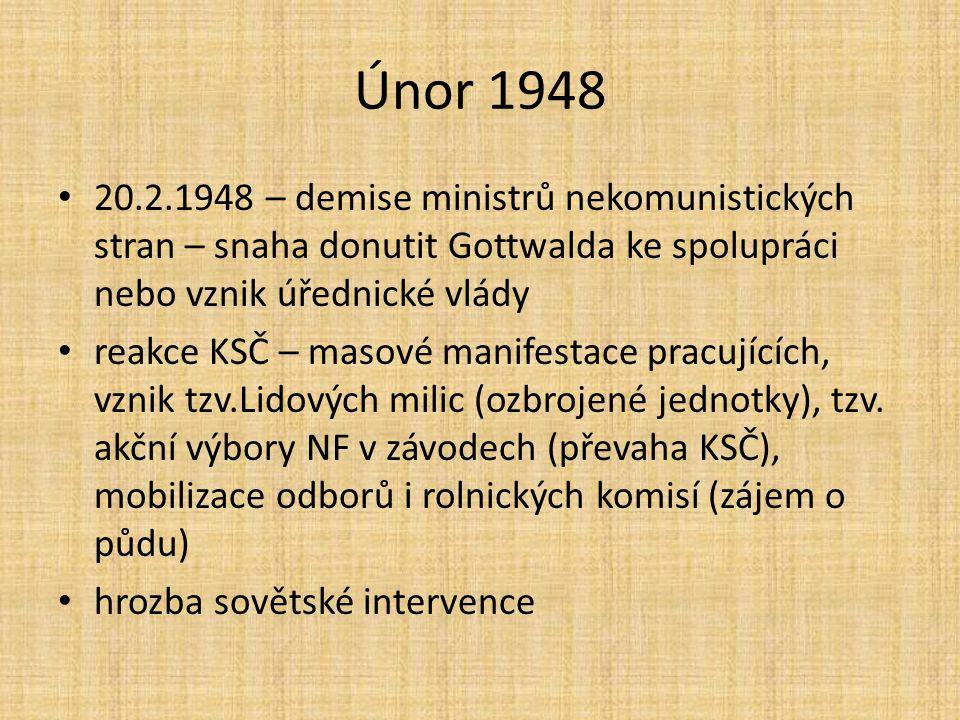 Únor 1948 20.2.1948 – demise ministrů nekomunistických stran – snaha donutit Gottwalda ke spolupráci nebo vznik úřednické vlády reakce KSČ – masové manifestace pracujících, vznik tzv.Lidových milic (ozbrojené jednotky), tzv.