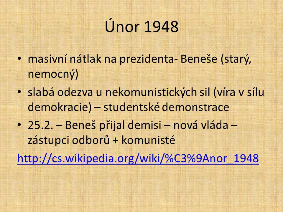 masivní nátlak na prezidenta- Beneše (starý, nemocný) slabá odezva u nekomunistických sil (víra v sílu demokracie) – studentské demonstrace 25.2.