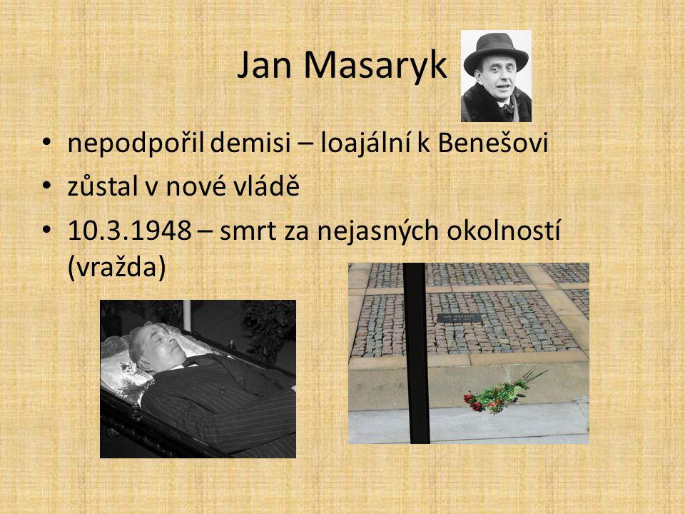 Jan Masaryk nepodpořil demisi – loajální k Benešovi zůstal v nové vládě 10.3.1948 – smrt za nejasných okolností (vražda)