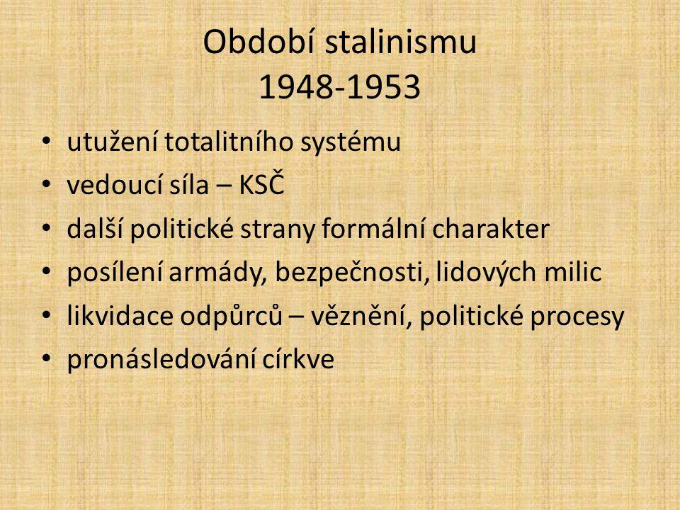 Období stalinismu 1948-1953 utužení totalitního systému vedoucí síla – KSČ další politické strany formální charakter posílení armády, bezpečnosti, lidových milic likvidace odpůrců – věznění, politické procesy pronásledování církve