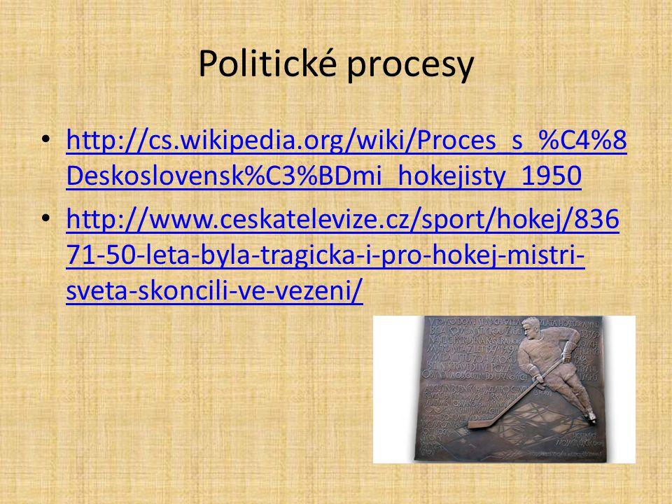 Politické procesy http://cs.wikipedia.org/wiki/Proces_s_%C4%8 Deskoslovensk%C3%BDmi_hokejisty_1950 http://cs.wikipedia.org/wiki/Proces_s_%C4%8 Deskoslovensk%C3%BDmi_hokejisty_1950 http://www.ceskatelevize.cz/sport/hokej/836 71-50-leta-byla-tragicka-i-pro-hokej-mistri- sveta-skoncili-ve-vezeni/ http://www.ceskatelevize.cz/sport/hokej/836 71-50-leta-byla-tragicka-i-pro-hokej-mistri- sveta-skoncili-ve-vezeni/