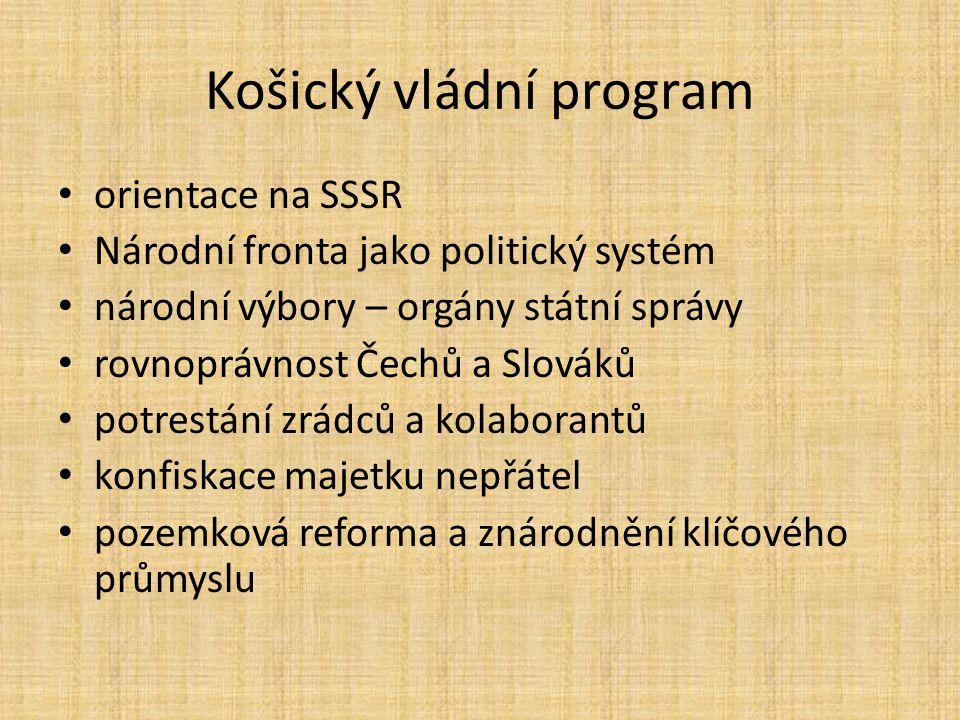 Košický vládní program http://www.moderni-dejiny.cz/clanek/kosicky- vladni-program-5-4-1945/ http://www.moderni-dejiny.cz/clanek/kosicky- vladni-program-5-4-1945/ http://www.moderni-dejiny.cz/clanek/kosicky- vladni-program-v-obrazech/ http://www.moderni-dejiny.cz/clanek/kosicky- vladni-program-v-obrazech/