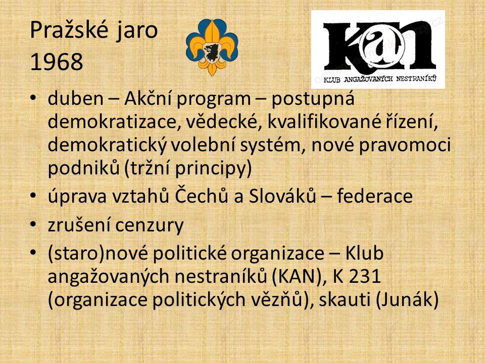 Pražské jaro 1968 duben – Akční program – postupná demokratizace, vědecké, kvalifikované řízení, demokratický volební systém, nové pravomoci podniků (tržní principy) úprava vztahů Čechů a Slováků – federace zrušení cenzury (staro)nové politické organizace – Klub angažovaných nestraníků (KAN), K 231 (organizace politických vězňů), skauti (Junák)