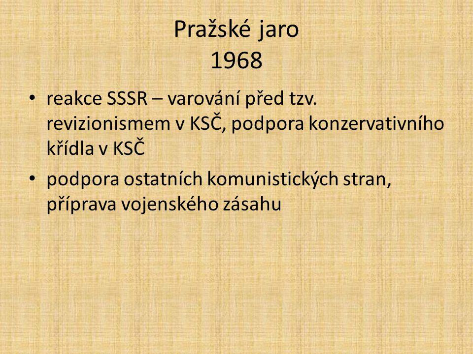 Pražské jaro 1968 reakce SSSR – varování před tzv.