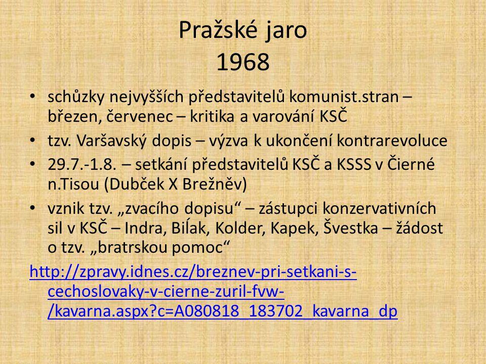 Pražské jaro 1968 schůzky nejvyšších představitelů komunist.stran – březen, červenec – kritika a varování KSČ tzv.