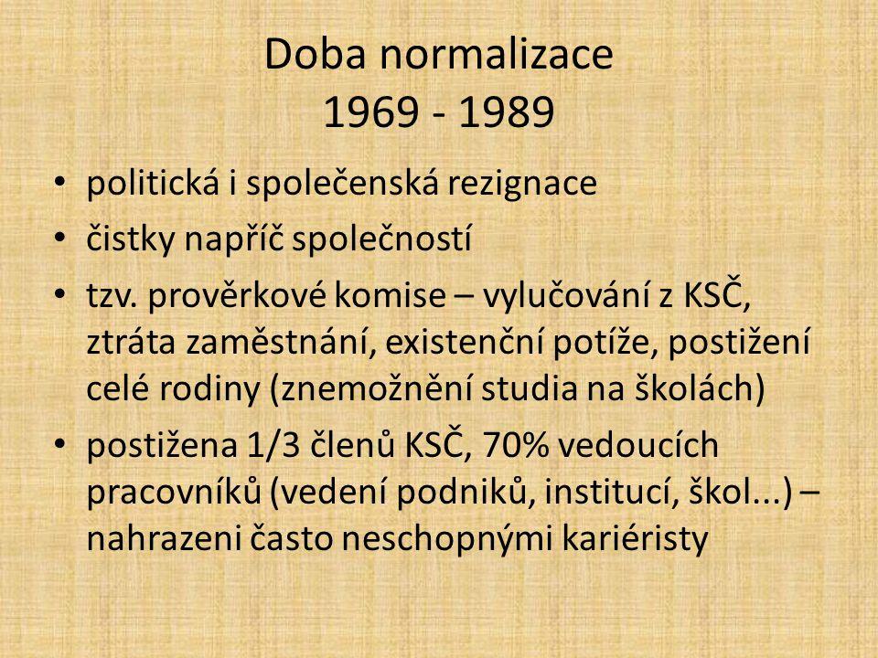 Doba normalizace 1969 - 1989 politická i společenská rezignace čistky napříč společností tzv.