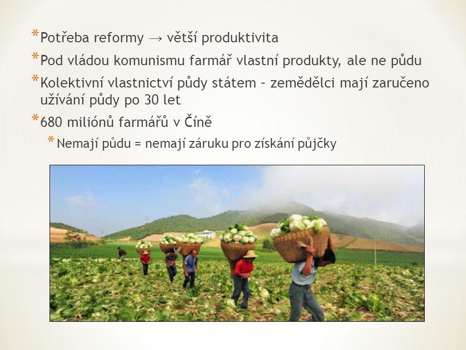 * Potřeba reformy → větší produktivita * Pod vládou komunismu farmář vlastní produkty, ale ne půdu * Kolektivní vlastnictví půdy státem – zemědělci ma