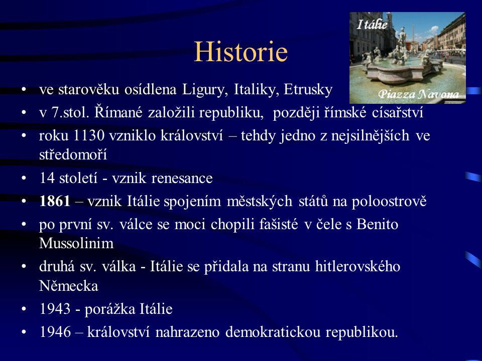 Historie ve starověku osídlena Ligury, Italiky, Etrusky v 7.stol.