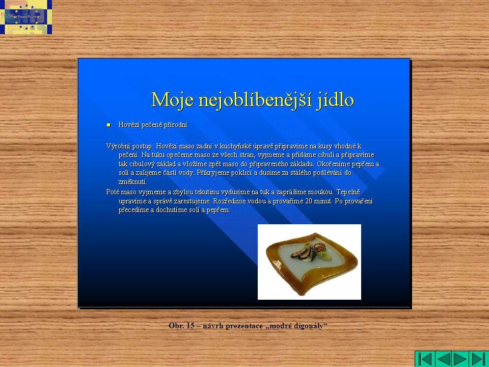"""Obr. 15 – návrh prezentace """"modré digonály"""""""