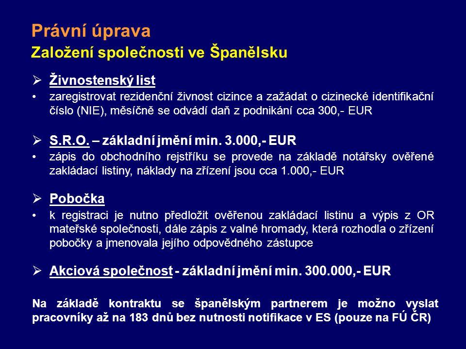 Právní úprava Založení společnosti ve Španělsku  Živnostenský list zaregistrovat rezidenční živnost cizince a zažádat o cizinecké identifikační číslo (NIE), měsíčně se odvádí daň z podnikání cca 300,- EUR  S.R.O.