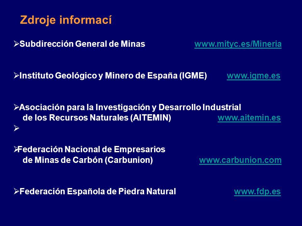 Zdroje informací  Subdirección General de Minaswww.mityc.es/Mineriawww.mityc.es/Mineria  Instituto Geológico y Minero de España (IGME) www.igme.eswww.igme.es  Asociación para la Investigación y Desarrollo Industrial de los Recursos Naturales (AITEMIN) www.aitemin.eswww.aitemin.es   Federación Nacional de Empresarios de Minas de Carbón (Carbunion) www.carbunion.comwww.carbunion.com  Federación Española de Piedra Natural www.fdp.eswww.fdp.es