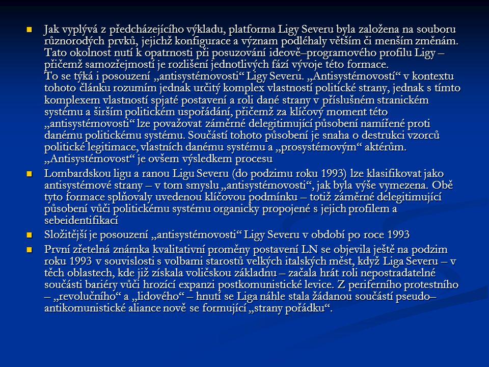 Jak vyplývá z předcházejícího výkladu, platforma Ligy Severu byla založena na souboru různorodých prvků, jejichž konfigurace a význam podléhaly větším či menším změnám.