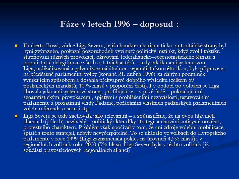 Fáze v letech 1996 – doposud : Umberto Bossi, vůdce Ligy Severu, jejíž charakter charismaticko–autoritářské strany byl nyní zvýrazněn, prokázal pozoruhodně vyvinutý politický instinkt, když zvolil taktiku stupňování různých provokací, oživování federalisticko–secesionistického tématu a populistické delegitimace všech ostatních aktérů – tedy taktiku antisystémovou.